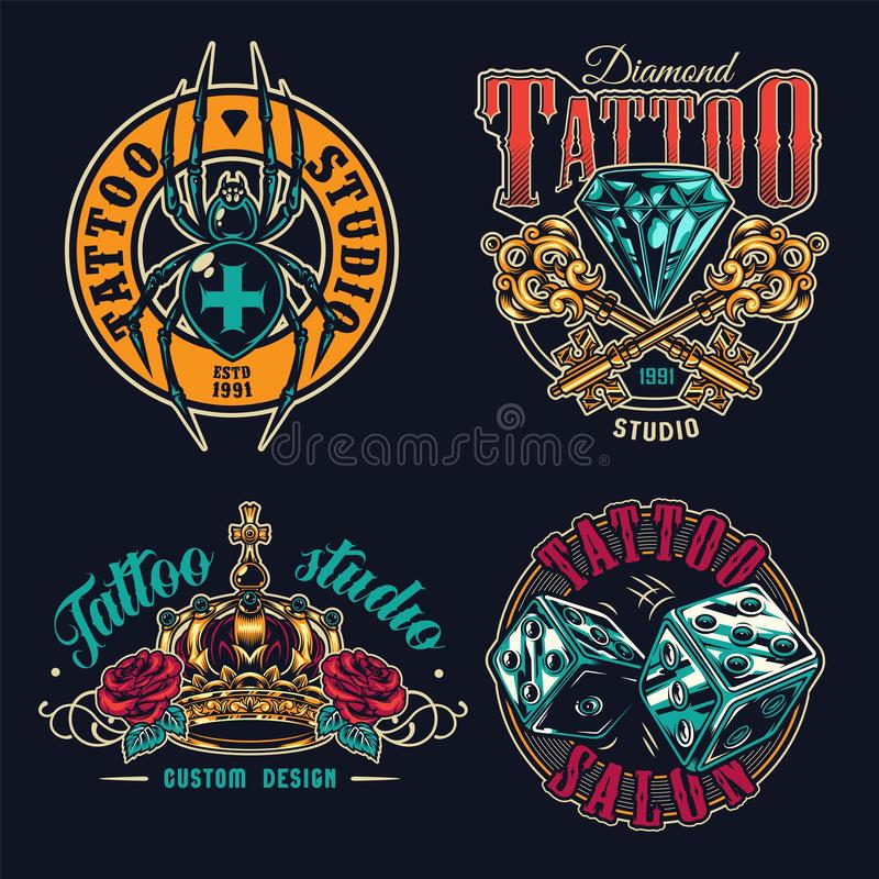 Zbiór barwnych etykiet z tatuażem ilustracji