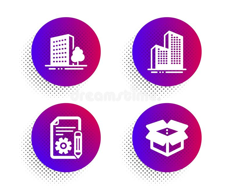 Zbiór ikon dotyczących budynków, dokumentacji i budynków programu Skyscraper. Znak otwierania skrzynki. wektor ilustracji