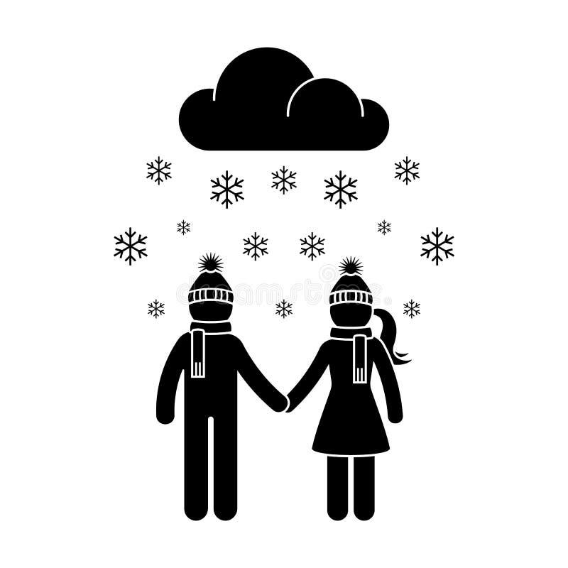 Zbiór ikony wektora kobiety i mężczyzny na zimowym śniegu Młode pary chodzące po piktogramie zimnej pogody ilustracji