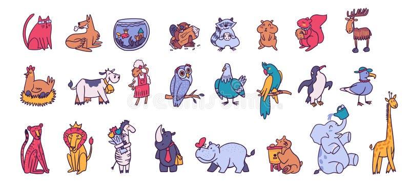 Zbiór ilustracji wektorów karykatury ślicznego zwierzaka royalty ilustracja