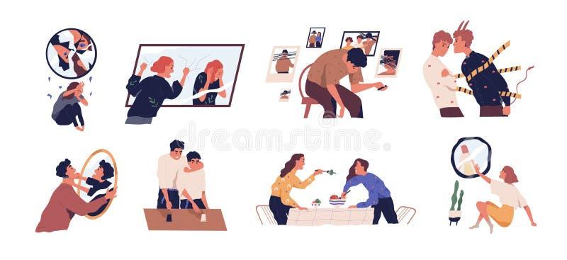 Zbiór ilustracji wektorowych płaskich wewnętrznych konfliktów Metafora wewnętrznych demonów Ludzie słuchający wewnętrznego przeka ilustracji
