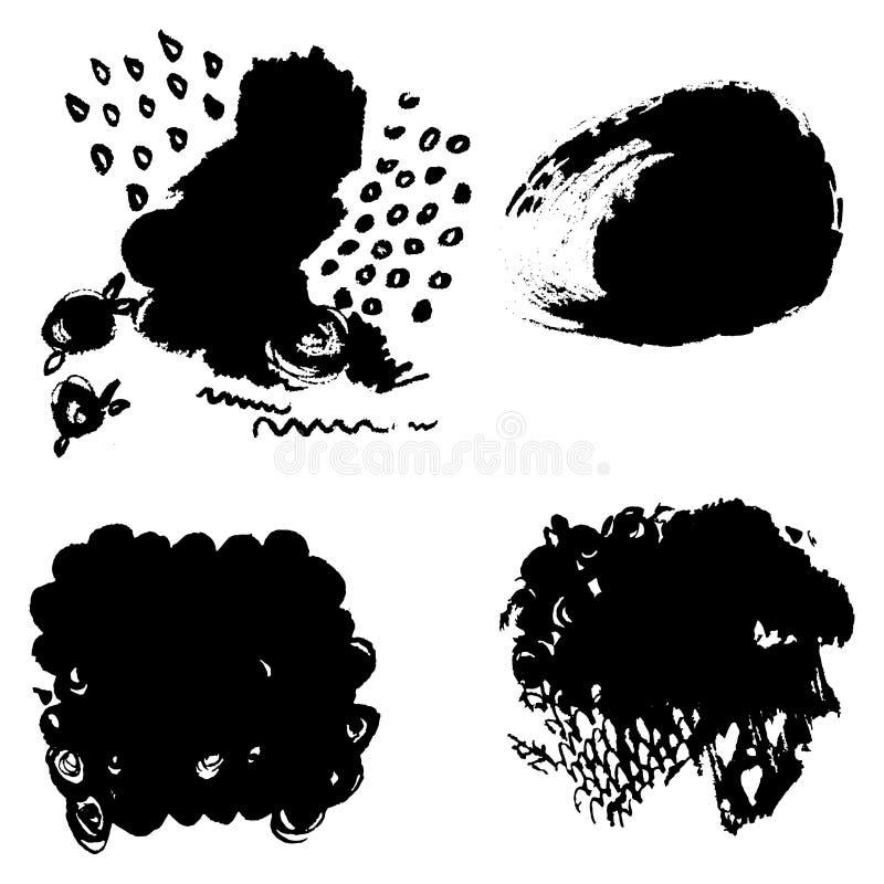 Zbiór pędzli do grung zaciąganych ręcznie Tekstury pociągnięć pędzlem z czarnym tuszem, z różnymi kształtami szablonów, wzorków ilustracji
