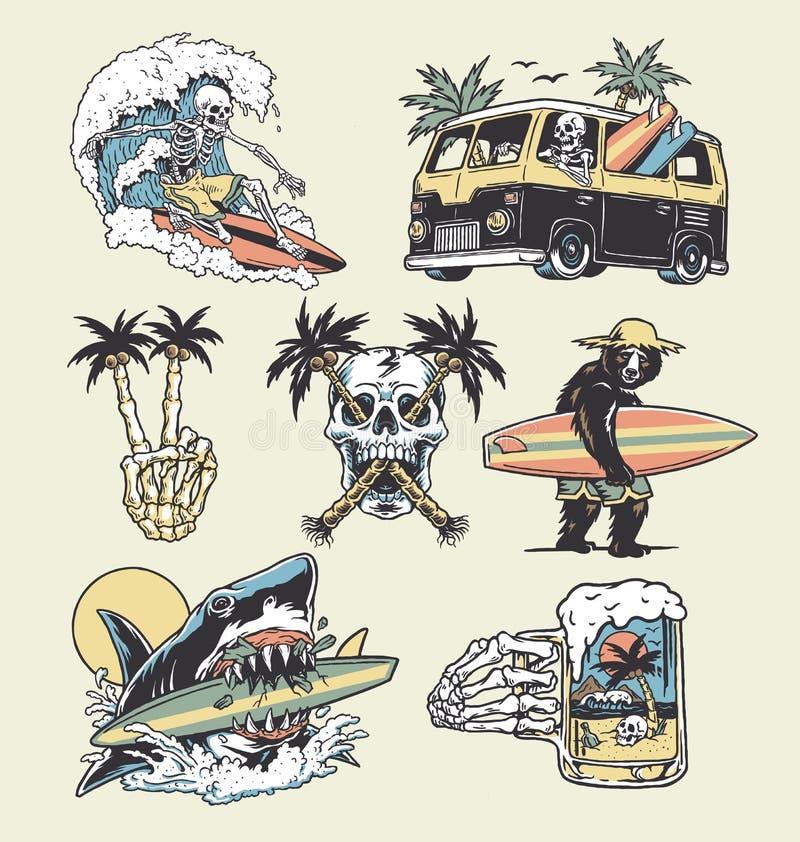 Zbiór rysunków degy surf and plaża Do t-shirtów, naklejek i innych podobnych wyrobów ilustracja wektor