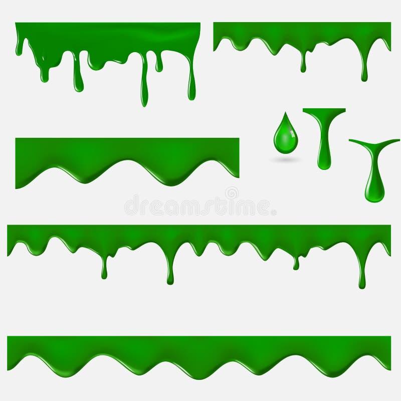 Zbiór wektora 3W slajdu zielonego royalty ilustracja
