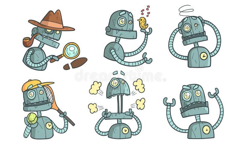 Zbiór znaków robota Vintage, zabawna robota Steampunk w różnych sytuacjach, ilustracja wektorowa ilustracji