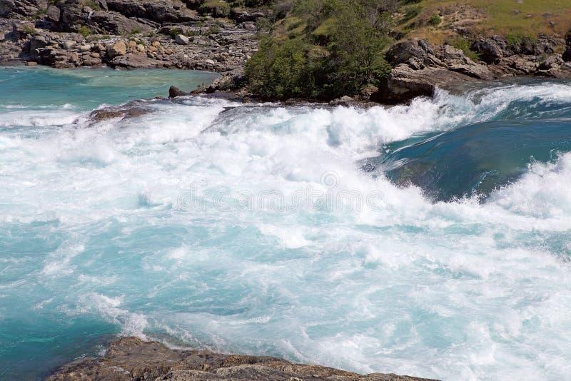 Zbieżność Piekarniana rzeka i Nef rzeka, Patagonia, Chile fotografia stock