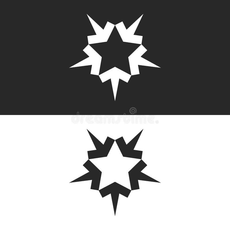 Zbiegać się pięć strzał logo tworzy kształt pięcioramienna gwiazda, ikona dla pracy zespołowej pomyślni ludzie royalty ilustracja