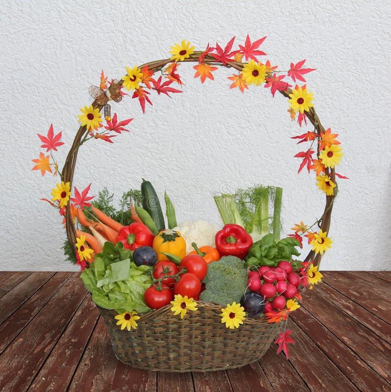 Zbierać kosz z świeżymi warzywami obraz stock