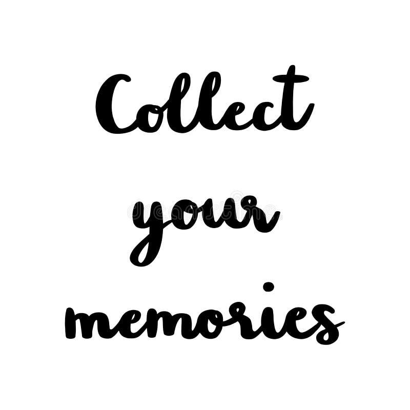 Zbiera twój wspominki ręki literowanie na białym tle royalty ilustracja
