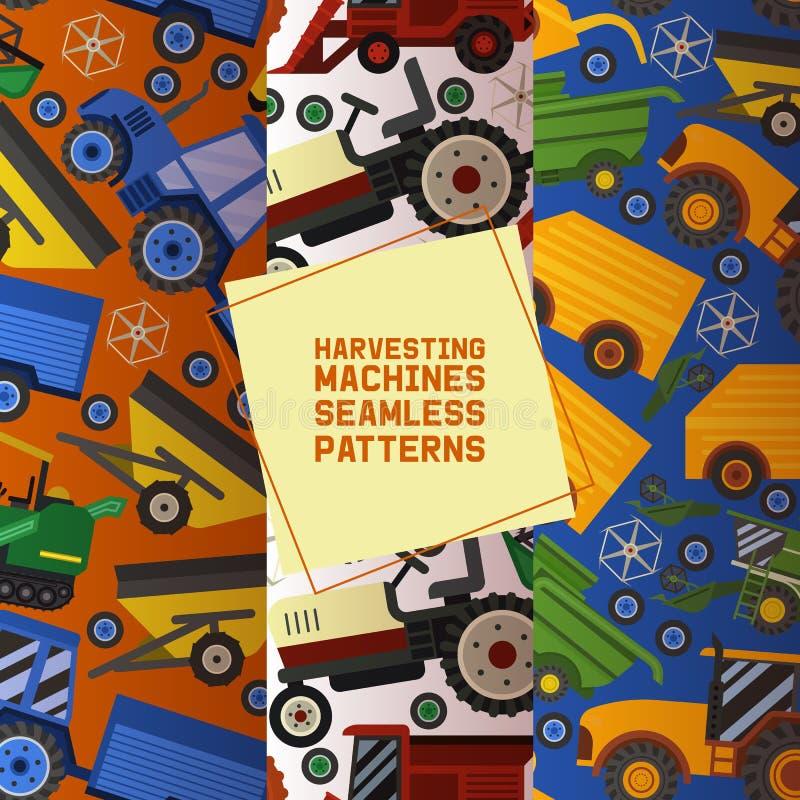 Zbierający maszyny ustawiać bezszwowa wzoru wektoru ilustracja Wyposa?enie dla rolnictwa Przemysłowi rolni pojazdy ilustracja wektor