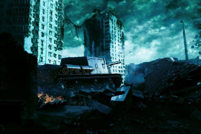 Zbiornik w ruinach miasto Apokaliptyczny krajobraz obrazy stock