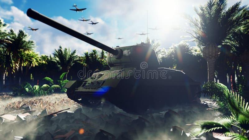 Zbiornik wojskowy stoi na ruinach w opuszczonej tropikalnej dżungli, a nad głową leci wojskowy statek powietrzny Armada 3W royalty ilustracja
