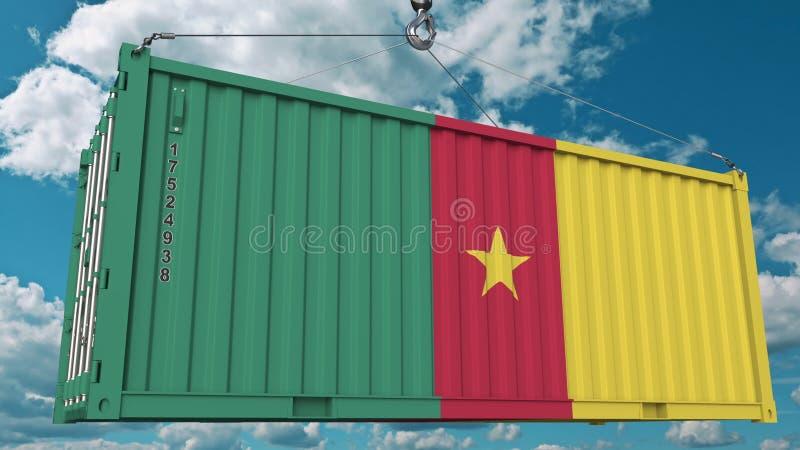 Zbiornik z flagą Cameroon Cameroonian eksport lub import odnosić sie konceptualnego 3D rendering royalty ilustracja