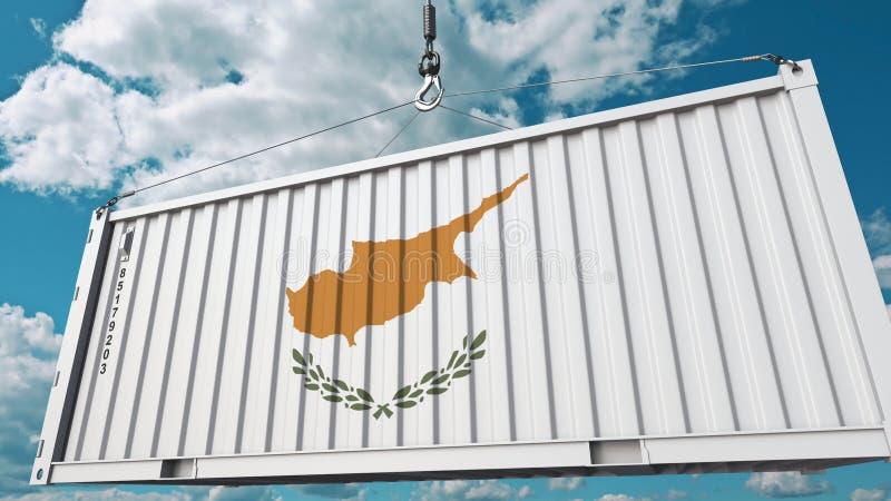 Zbiornik z flagą Cypr Cypryjczyka eksport lub import odnosić sie konceptualnego 3D rendering ilustracji
