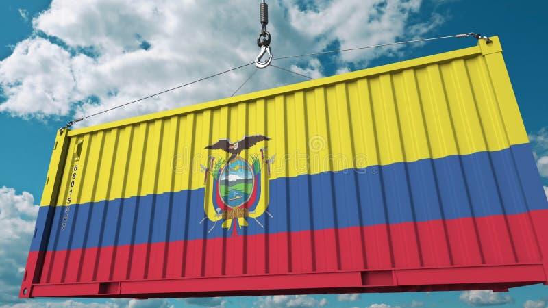 Zbiornik z flagą Ekwador Ekwadorski import lub eksport odnosić sie konceptualnego 3D rendering fotografia royalty free