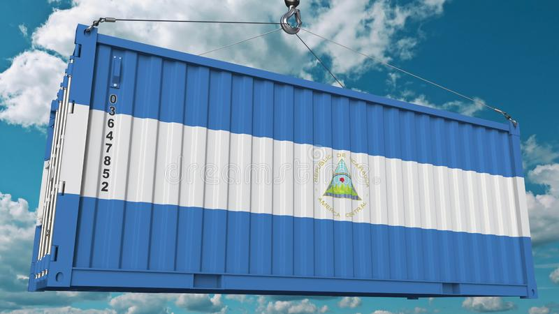 Zbiornik z flagą Nikaragua Nikaraguański import lub eksport odnosić sie konceptualnego 3D rendering zdjęcie royalty free
