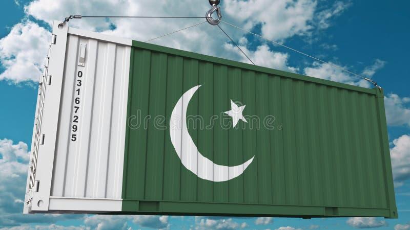 Zbiornik z flagą Pakistan Pakistańczyka eksport lub import odnosić sie konceptualnego 3D rendering royalty ilustracja