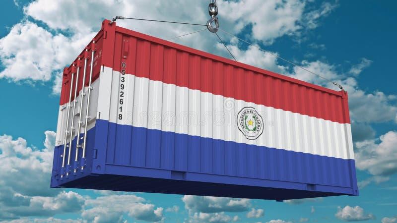 Zbiornik z flagą Paraguay Paragwajski import lub eksport odnosić sie konceptualnego 3D rendering obraz stock