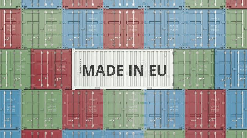 Zbiornik z ROBIĆ W UE tekscie Europejskiego zjednoczenia eksport lub import odnosić sie 3D rendering ilustracja wektor