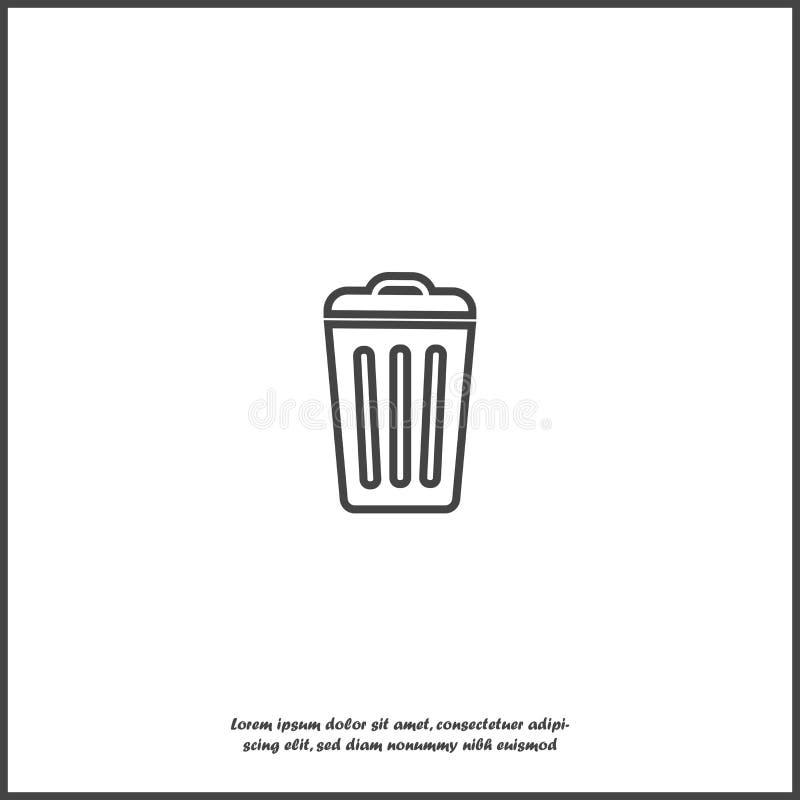 Zbiornika przetwarzać śmieci znak odizolowywam Płaski ikona kosz Płaski wizerunku kubeł na śmieci na białym odosobnionym tle ilustracji