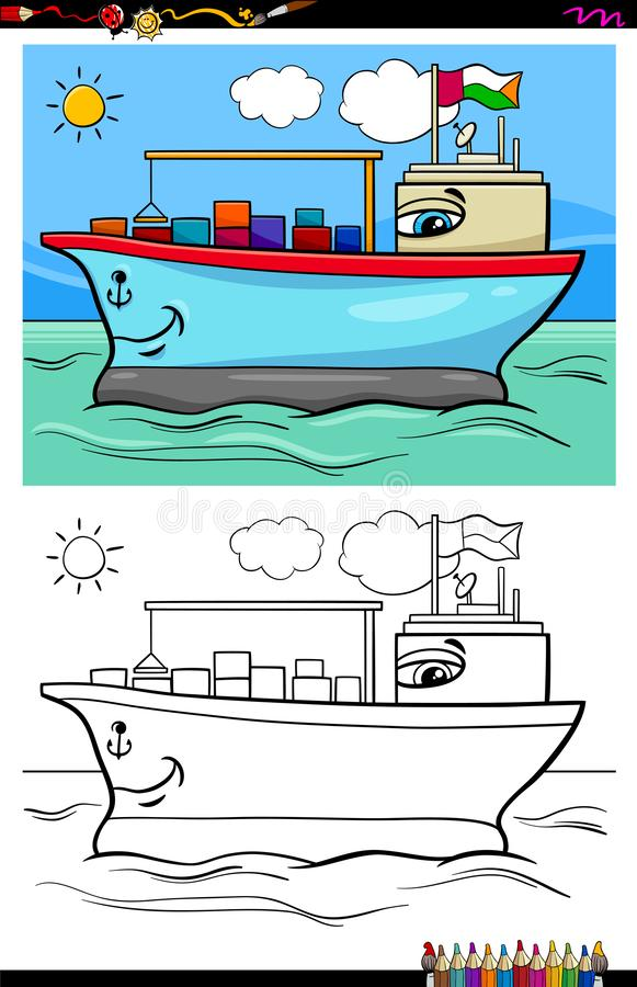 Zbiornika statku charakteru kolorystyki książka ilustracja wektor