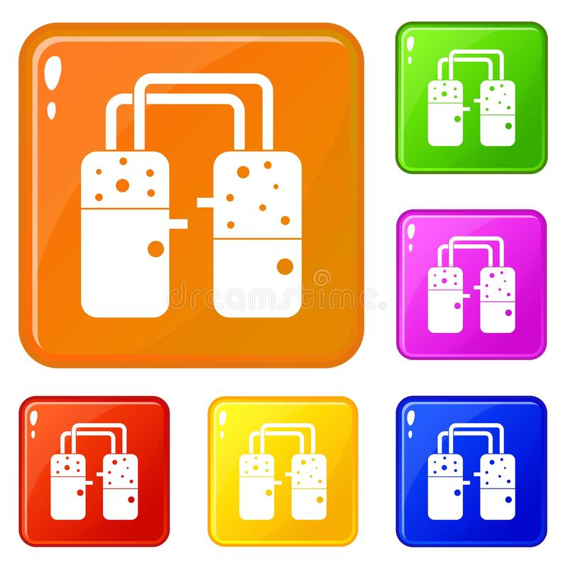Zbiorniki łączący z tubk ikonami ustawiają wektorowego kolor ilustracji
