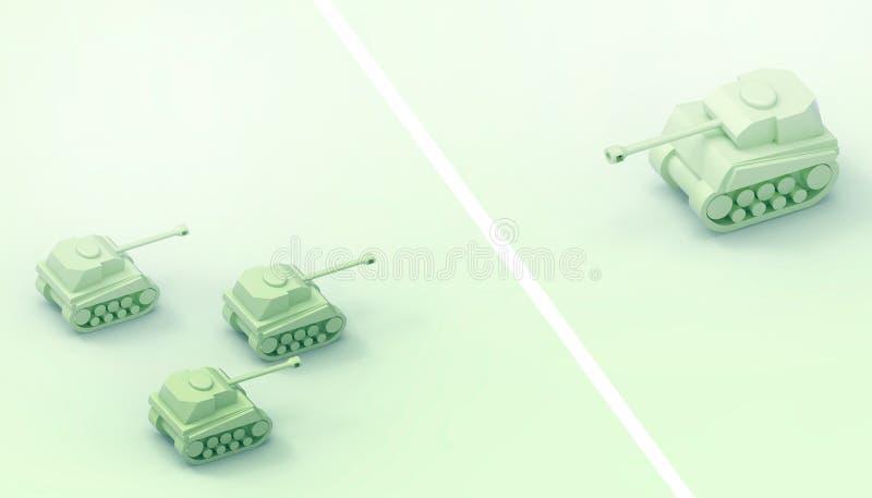 Zbiorniki bitwa, wojskowy, żołnierze, władza pomysły i władza lidera pojęcia rówieśnik i sztuka współczesna ilustracja wektor