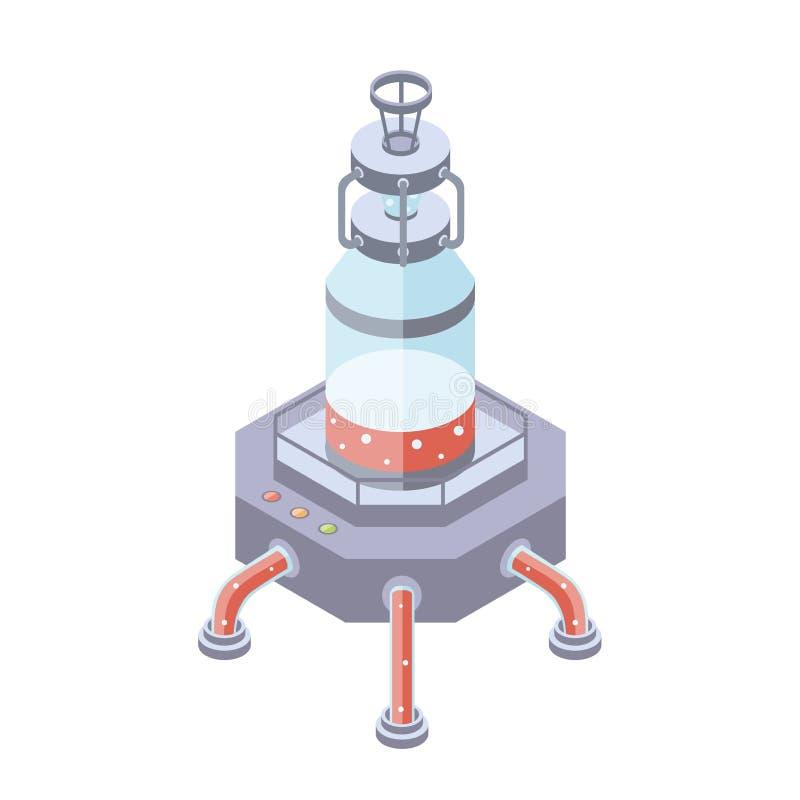 Zbiorniki dla ciecza, substanci chemicznej lub przemysłu spożywczego, Wektorowa ilustracja w isometric projekci, odizolowywającej ilustracja wektor