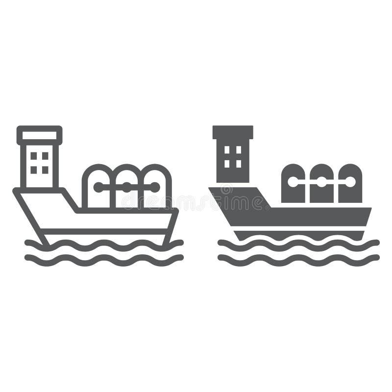 Zbiornikowiec do ropy linia i glif ikona, przemysłowy i łódkowaty, oleju statku znak, wektorowe grafika, liniowy wzór na bielu royalty ilustracja