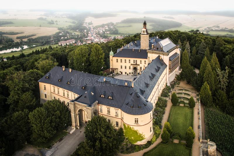 Zbiroh - aerial drone skyline view of castle. Zbiroh. Aerial drone skyline view of medieval castle. Located in Czech republic. It is very popular touristic stock photos