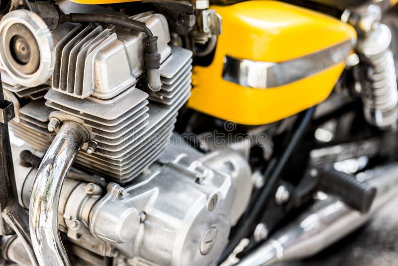 Zbliżenie metalu motocyklu silnika części, crotch rakieta zdjęcie stock