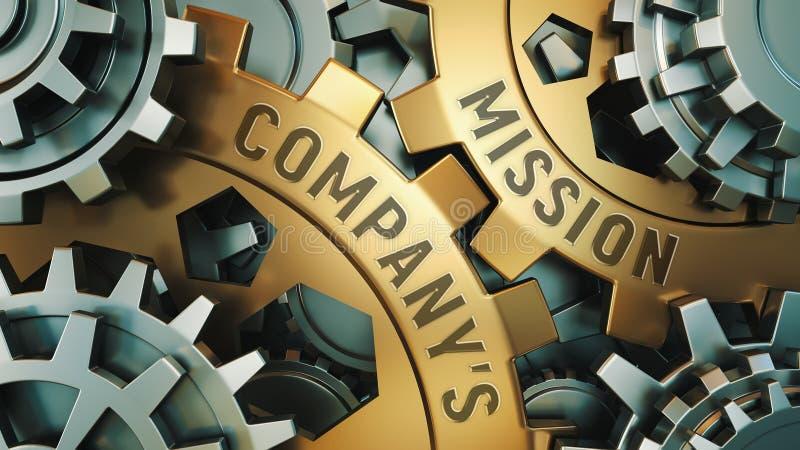 Zbliżenie widok dwa złotego cogwheels z słowami: Firmy misja, Biznesowy pojęcie Przekładnia mechanizm ilustracja 3 d royalty ilustracja