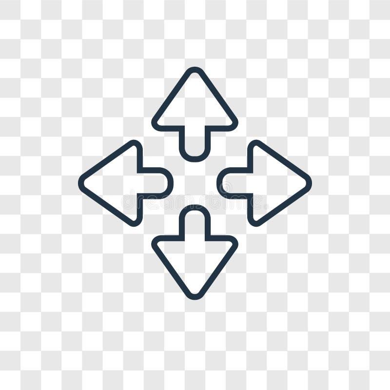 Zbliża kierunku pojęcia wektorową liniową ikonę odizolowywającą na transpare ilustracja wektor