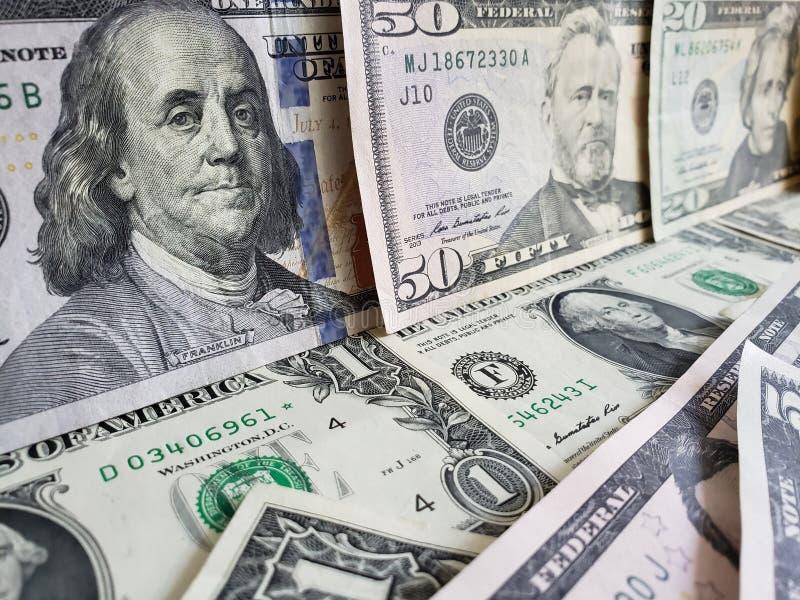 zbliża się Amerykańscy dolary banknoty, tło i teksturę, obrazy royalty free