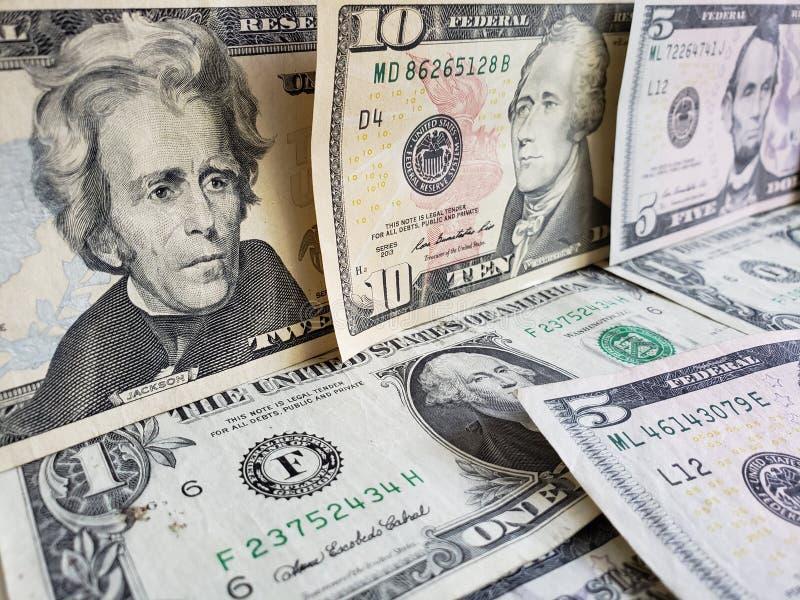 zbliża się Amerykańscy dolary banknoty, tło i teksturę, obrazy stock