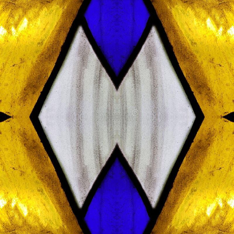 zbliżający się witraż w błękitnym, kolor żółty i biel barwimy, z tłem i teksturą symetrii i odbicia, zdjęcie stock