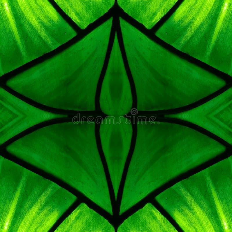 zbliżający się witraż w zielonych kolorach z tłem i teksturą, symetrii i odbicia, zdjęcie stock