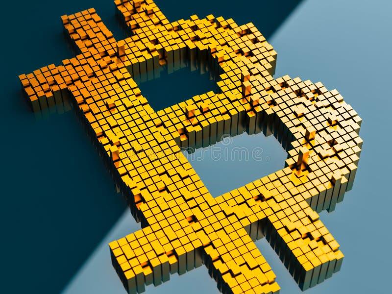 Zbliżenia pojęcie mali metali sześciany które budują up to formę bitcoin symbol na błękitnym tle w przypadkowym układzie ilustracji
