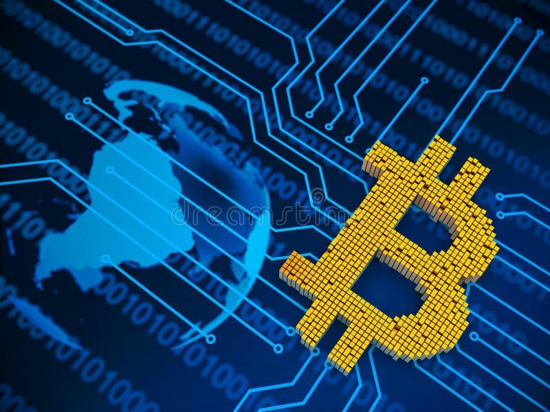 Zbliżenia pojęcie mali metali sześciany które budują up to formę bitcoin symbol na obwód desce i w przypadkowym układzie royalty ilustracja