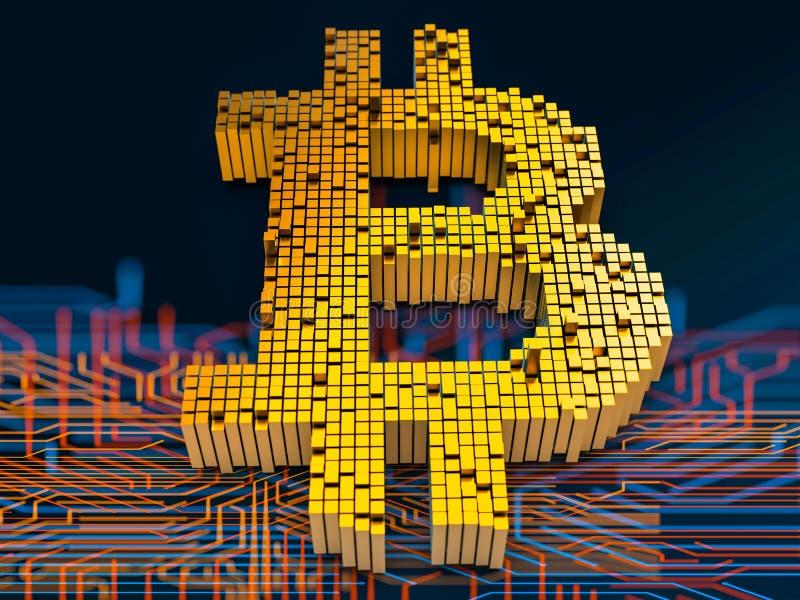 Zbliżenia pojęcie mali metali sześciany które budują up to formę bitcoin symbol na obwód desce w przypadkowym układzie 3d ilustracja wektor