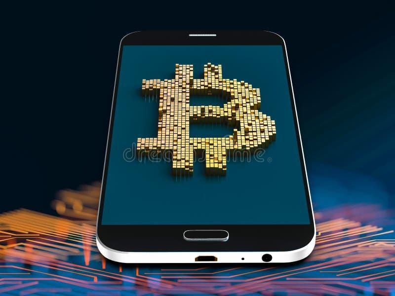 Zbliżenia pojęcie mali metali sześciany które budują up to formę bitcoin symbol na rodzajowym smartphone w przypadkowym układzie royalty ilustracja