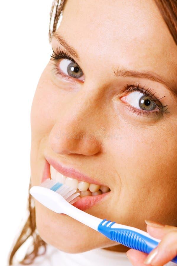 zbliżenia toothbrush kobieta fotografia royalty free