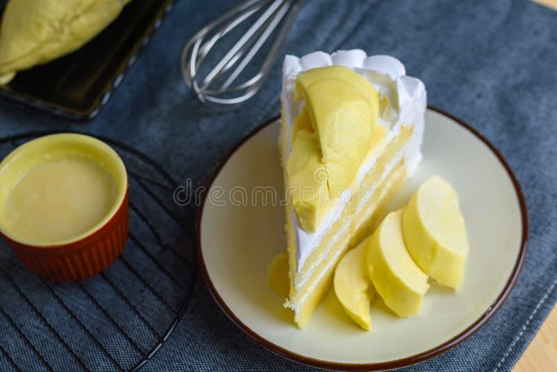 Zbliżenia wyśmienicie słodkiego deserowego świeżego durian tajlandzka owoc z whi zdjęcie stock