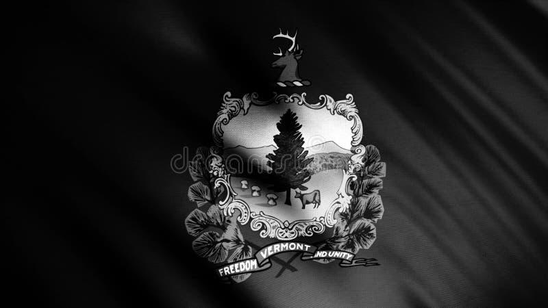 Zbliżenie abstrakcyjnej czarno-białej flagi stanu Vermont, USA latające i machające, bezszwowa pętla Animacja royalty ilustracja