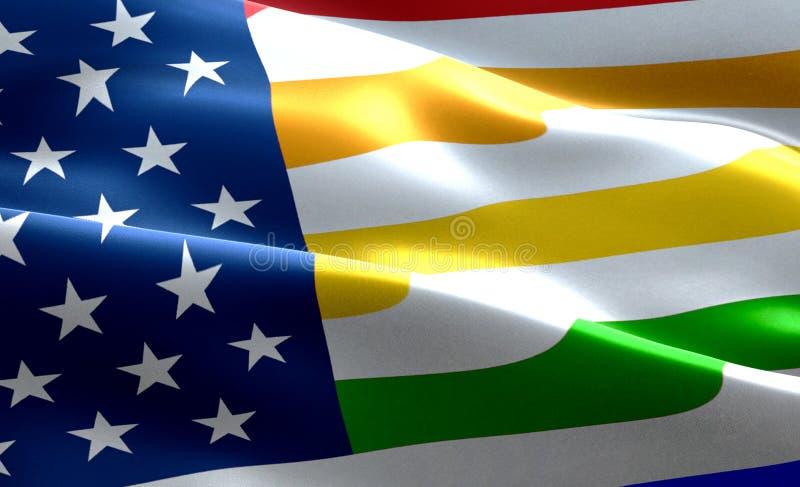 Zbliżenie amerykański usa flaga tło, gwiazdy, lampasy z kolorowym homoseksualnej dumy tęczy flaga, zlani stany America i c, royalty ilustracja