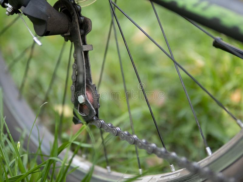 Zbliżenie bicykl przekładni łańcuch na tylni kole rower górski i mechanizm Tylni koła kaseta od góry obraz royalty free