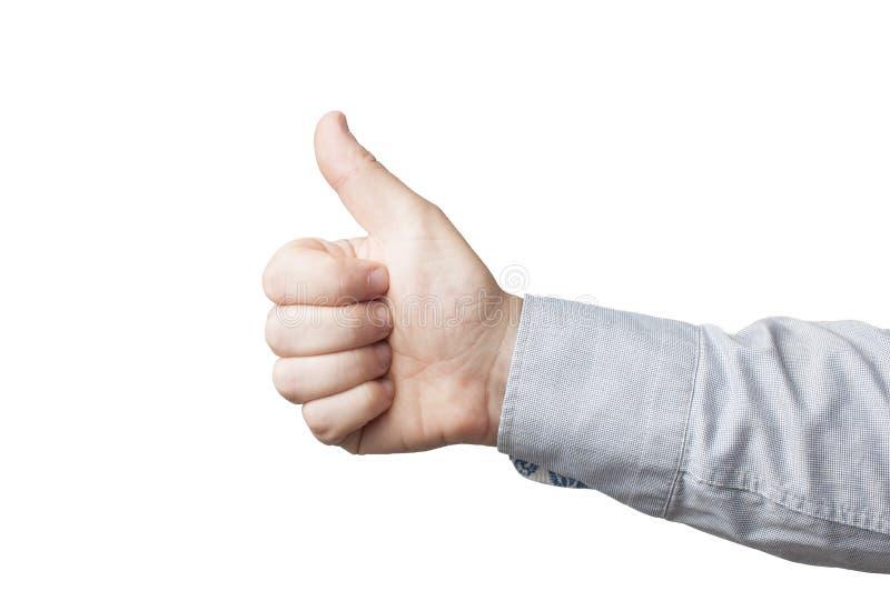 Zbliżenie biznesmena w niebieskiej koszuli pokazuje kciuk w górę, białe tło fotografia royalty free
