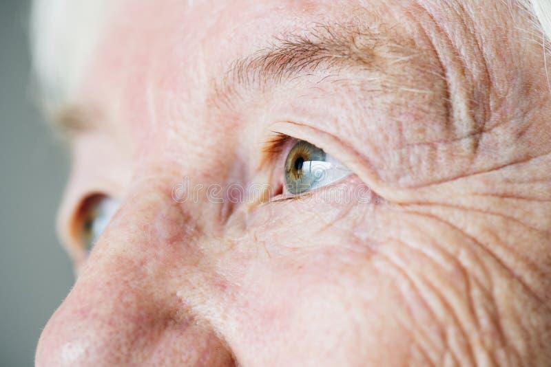 Zbliżenie boczny portret biały starszy kobiety ` s ono przygląda się obraz royalty free