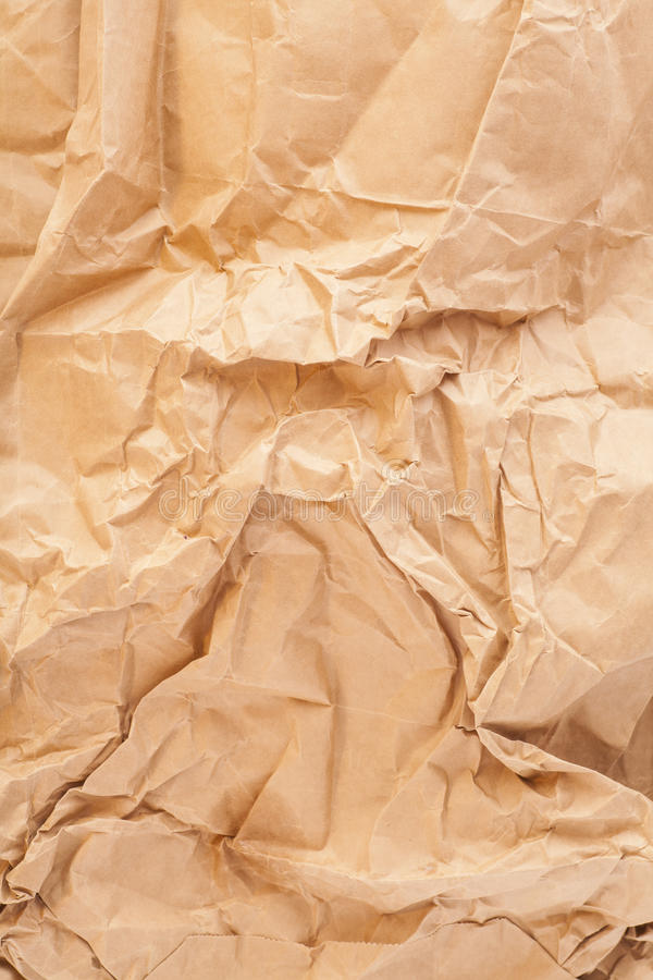 Zbliżenie brąz marszcząca papierowa tekstura obrazy royalty free