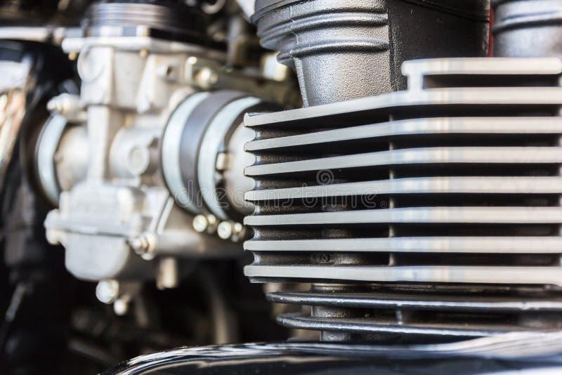 Zbliżenie chromowany motocyklu silnik fotografia stock